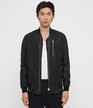 Hombre Kino Leather Bomber Jacket (Black) - product_image_alt_text_1