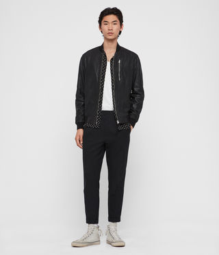 Men's Kino Leather Bomber Jacket (Black) - Image 3