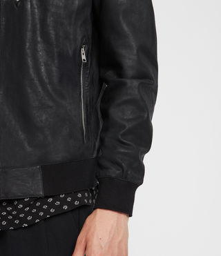 Mens Kino Leather Bomber Jacket (Black) - Image 5
