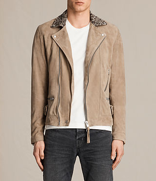 Hombre Leo Suede Biker Jacket (SAND BROWN) - product_image_alt_text_1