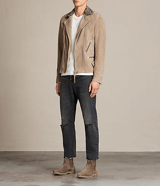 Hombre Leo Suede Biker Jacket (SAND BROWN) - product_image_alt_text_3