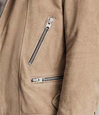 Hombre Leo Suede Biker Jacket (SAND BROWN) - product_image_alt_text_4
