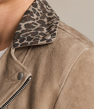 Hombre Leo Suede Biker Jacket (SAND BROWN) - product_image_alt_text_5