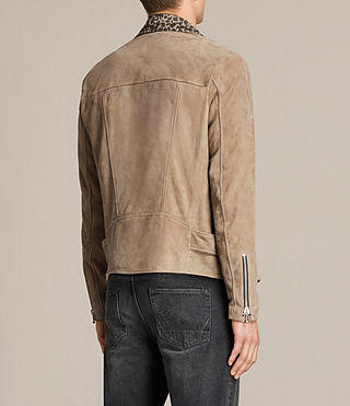Hombre Leo Suede Biker Jacket (SAND BROWN) - product_image_alt_text_8