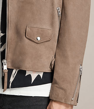 Men's Jennings Suede Biker Jacket (Light Khaki) - product_image_alt_text_2