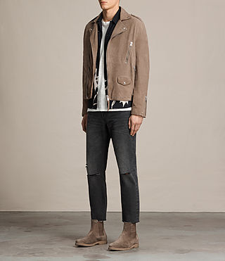 Men's Jennings Suede Biker Jacket (Light Khaki) - product_image_alt_text_3