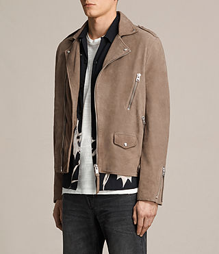 Men's Jennings Suede Biker Jacket (Light Khaki) - product_image_alt_text_4