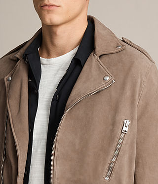 Men's Jennings Suede Biker Jacket (Light Khaki) - product_image_alt_text_5