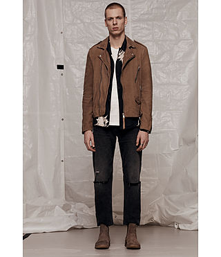 Men's Jennings Suede Biker Jacket (Light Khaki) - product_image_alt_text_8