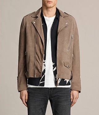 Hombre Jennings Suede Biker Jacket (Light Khaki Green)