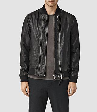 Mens Phoenix Leather Bomber (Black)