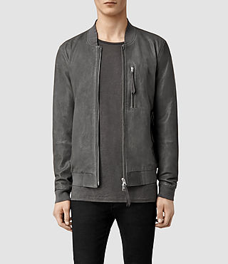 Mens Blythe Leather Bomber Jacket (Slate Grey)