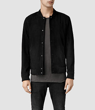 Men's Brackton Leather Bomber Jacket (Black)