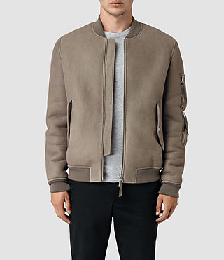 Mens Rogan Shearling Bomber Jacket (Shale)