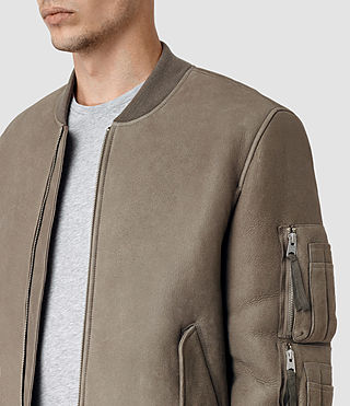 Hommes Rogan Shearling Bomber Jacket (Shale) - product_image_alt_text_2