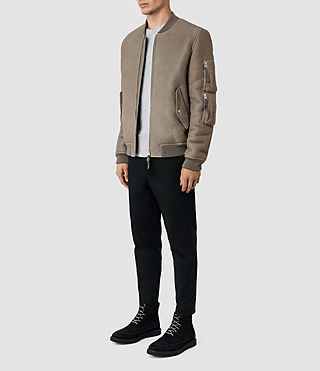 Hommes Rogan Shearling Bomber Jacket (Shale) - product_image_alt_text_3