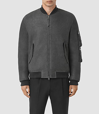 Hombre Rogan Shearling Bomber Jacket (STEEL BLUE) - product_image_alt_text_1