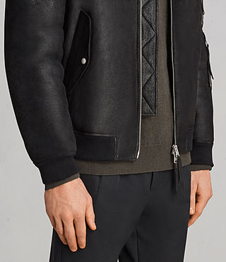Men's Rogan Shearling Bomber Jacket (Black) - Image 5