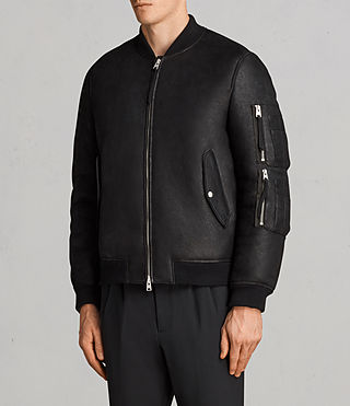 Men's Rogan Shearling Bomber Jacket (Black) - Image 8