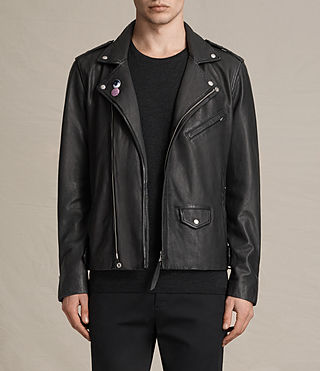 Hombre Colter Leather Biker Jacket (Black)