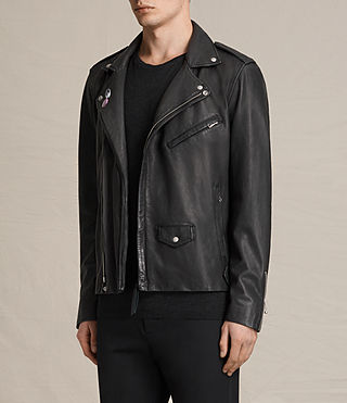 Mens Colter Leather Biker Jacket (Black) - product_image_alt_text_4