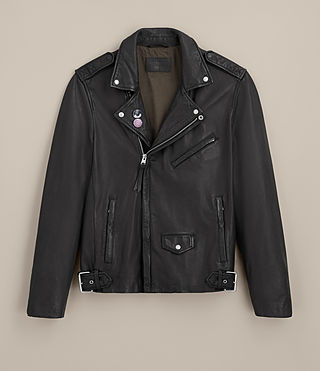 Mens Colter Leather Biker Jacket (Black) - product_image_alt_text_9