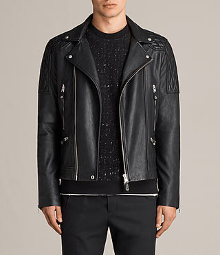 Mens Rasco Leather Biker Jacket (Black) - Image 1