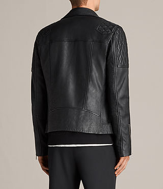 Mens Rasco Leather Biker Jacket (Black) - Image 10