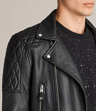 Mens Rasco Leather Biker Jacket (Black) - Image 2