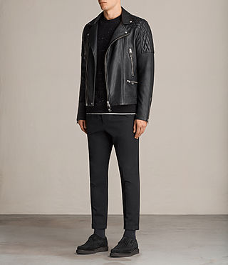 Mens Rasco Leather Biker Jacket (Black) - Image 3