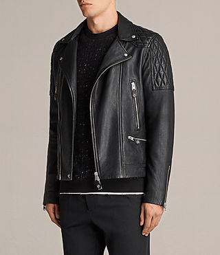 Mens Rasco Leather Biker Jacket (Black) - Image 6