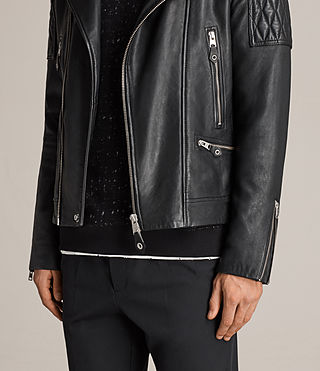 Mens Rasco Leather Biker Jacket (Black) - Image 7