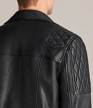 Mens Rasco Leather Biker Jacket (Black) - Image 8