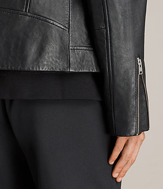 Mens Rasco Leather Biker Jacket (Black) - Image 9