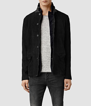 Mens Graft Leather Blazer (Black)