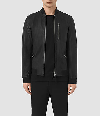 Hommes Utility Leather Bomber Jacket (Black)