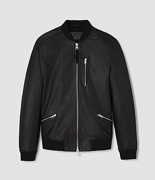 Hombres Utility Leather Bomber Jacket (Black) - product_image_alt_text_2