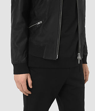 Hombres Utility Leather Bomber Jacket (Black) - product_image_alt_text_3