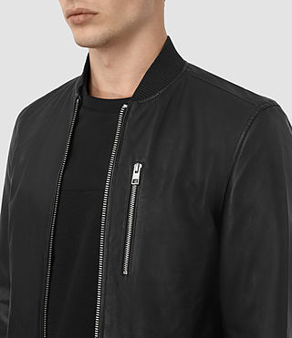 Men's Utility Leather Bomber Jacket (Black) - product_image_alt_text_4