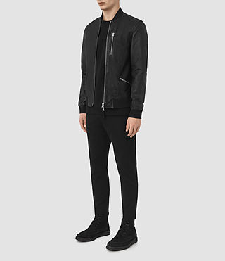 Hombres Utility Leather Bomber Jacket (Black) - product_image_alt_text_5