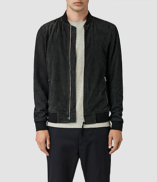 Hombres Daigo Suede Bomber Jacket (Washed Black)