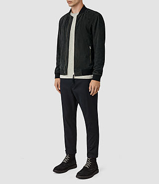 Hombre Daigo Suede Bomber Jacket (Washed Black) - product_image_alt_text_2