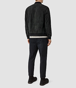 Hombre Daigo Suede Bomber Jacket (Washed Black) - product_image_alt_text_3