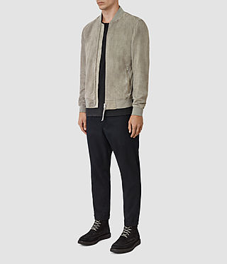 Hombres Daigo Suede Bomber Jacket (CEMENT GREY) - product_image_alt_text_2