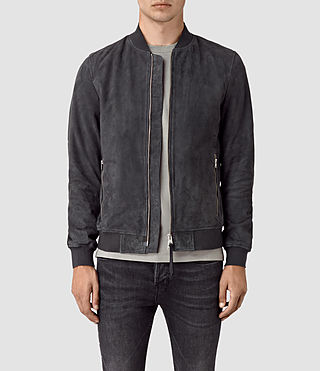 Men's Daigo Suede Bomber Jacket (STEEL BLUE) -