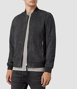 Hombres Daigo Suede Bomber Jacket (STEEL BLUE) - product_image_alt_text_3