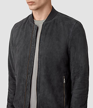 Hombres Daigo Suede Bomber Jacket (STEEL BLUE) - product_image_alt_text_5