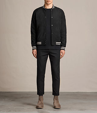 Mens Stanson Suede Bomber Jacket (INK NAVY/BLACK) - product_image_alt_text_1