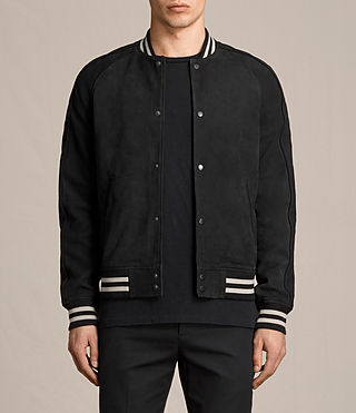 Herren Stanson Suede Bomber Jacket (INK NAVY/BLACK) - product_image_alt_text_2