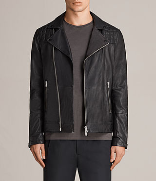 Hombres Kushiro Leather Biker Jacket (Black)